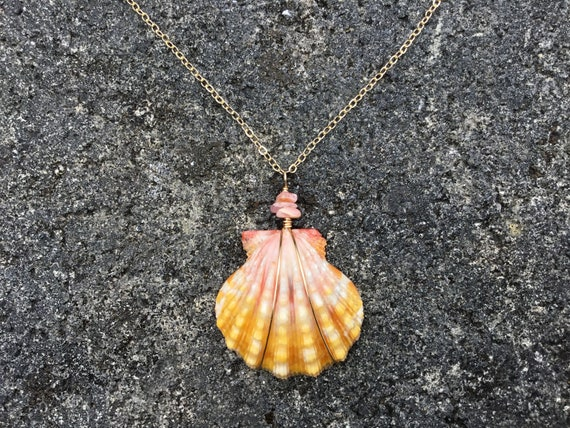 Hawaiian Sunrise Shell, Natural Pink Opal Chip, 14k Gold Filled Chain Necklace