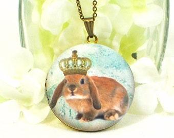 Rabbit Locket Bunny Pendant The Loppy Princess - Bunny Locket - Bunny Rabbit Necklace - Lop Bunny Locket - Rabbit Jewelry - Pet Bunny Rabbit