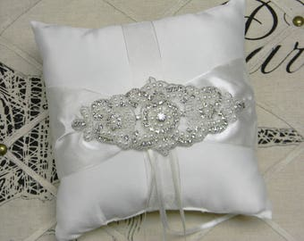 Ring Bearer Pillow, White or Ivory Ring Bearer Pillow, Pearl and Crystal Rhinestone Satin Wedding Ring Pillow, Classic Wedding Decorations