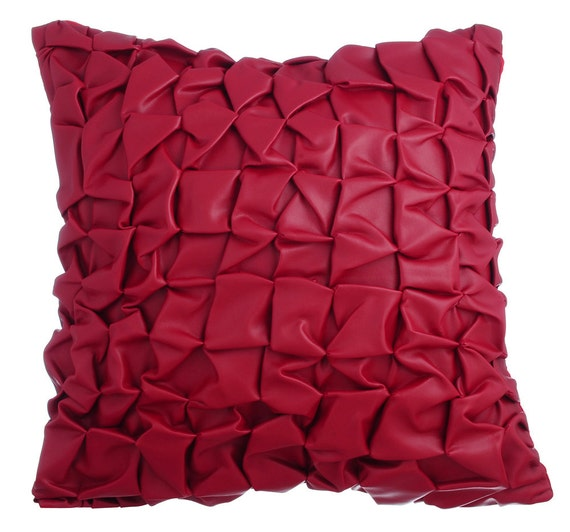 Leather Sofa For Accent Pillows: Red Leather Decorative Throw Pillow Covers Accent Pillow Couch