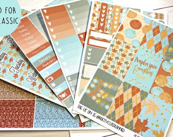 Fall Planner Stickers - Fits Happy Planner Classic - Pumpkin Spice Planner Stickers - Ala Carte Weekly Sticker Kit - Fall Stickers