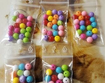 multicolored acrylic beads.