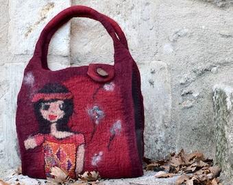 Red Felt bag Hand felted Felt purse Wet Felted Bag. Handmade Hand Felted Tote. bag,Handmade Handbag