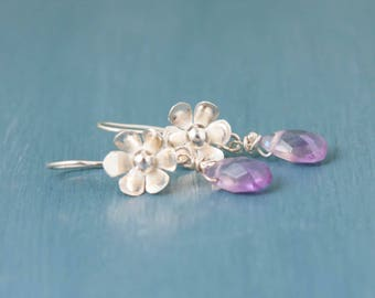 Flower Earrings, Amethyst, Silver Earrings