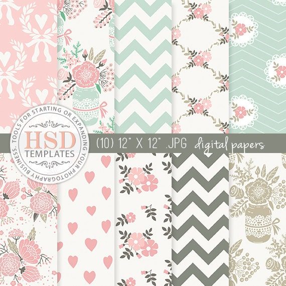 Shabby Chic Digital Paper Pink Mint Brown Rustic