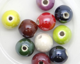 10 ceramic beads 12 mm pc041 mixed color