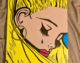 Sad girl pop art