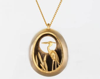 Nature inspired necklace, gold bird necklace,contemporary jewelry, nature jewelry, artisan necklace, unusual jewelry