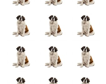 12 x Saint Bernard Dog Breed Edible Stand Up Wafer Cupcake Toppers x 12