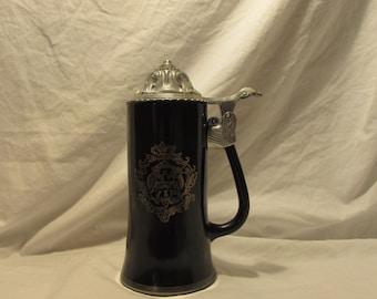 """Beer Stein, Black Glass, Metal Lid, """"Drunken Sot"""",1970's, Barware, Collectable"""