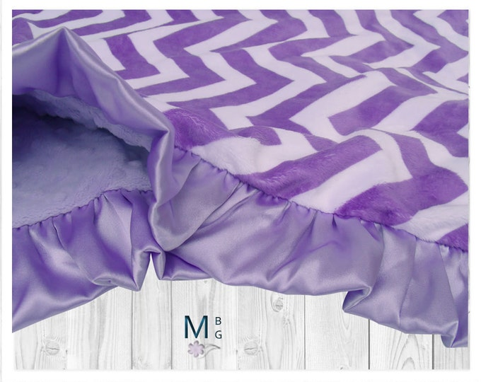 Orchid Purple Chevron with Lavender Dot Minky Baby Blanket, Purple Chevron Minky Dot Baby Blanket, Personalized