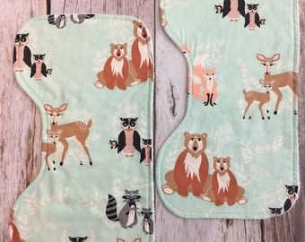 Two Contoured Burp Cloths - Hello Bear - Gender Neutral Baby Burp Cloths - Woodland - Baby Shower Gift - Baby Boy - Baby Girl - RTS