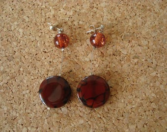 Earrings glass beads in shades of Brown