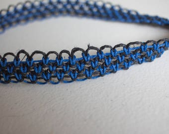 19 inch blue and black hemp necklace