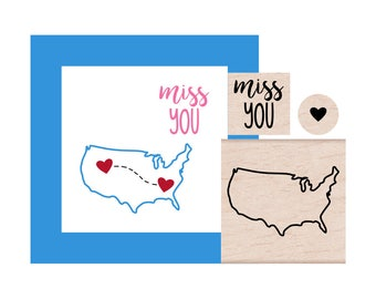 United States and Miss You and tiny Heart Rubber Stamp set