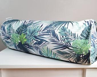 Big buckwheat hull bolster pillow, yoga bolster, roll pillow, buckwheat pillow, tropical leaves 23.6'' x 9''