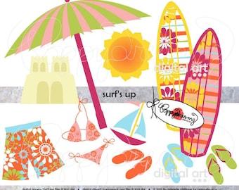 Surf's Up: Clip Art Pack (300 dpi) Digital Images (transparent png) Beach Surfboard Bikini Swim Summer Sand Castle