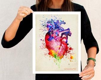 "Watercolor Heart, 11"" x 14"", Anatomy Medical print, Registered Nurse Gift, Nurse Graduation gift, Watercolor Splatter art, Anatomy Heart Art"
