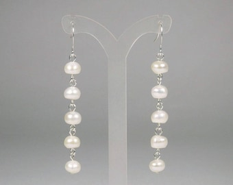 White Freshwater Pearl Earrings - Pearl Dangle - White Pearl Earrings - Pearl Chain Earrings - Pearl Drop Earrings - Linear Earrings