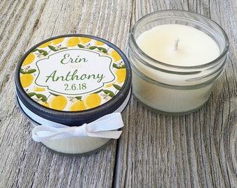Set of 12 - 4oz - Wedding Favor Candles - Lemon Tag Design // Personalized Wedding Favor // Custom Candle Favors // Candle Favors