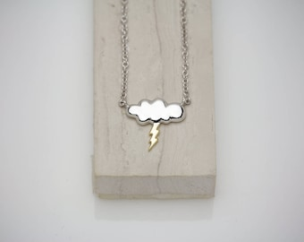 14K SOLID Two Tone Gold Cloud and Thunder/Lightning Pendant