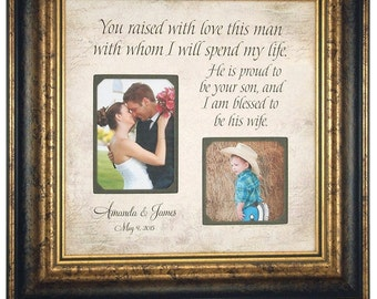 Personalized Photo Frame, Parents of the Groom Gift, Personalized Picture Frame, Parents Thank You, You RAISED WITH LOVE, 16x16