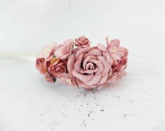 Mauve wedding flower wrist corsage - bridal accessories flower girls bridesmaids - flower bracelet