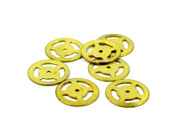 50 Pieces Raw Brass 16 mm Round Disc Findings