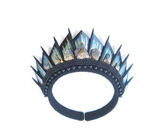 Blue Apatite Black Blade Crown - by Loschy Designs