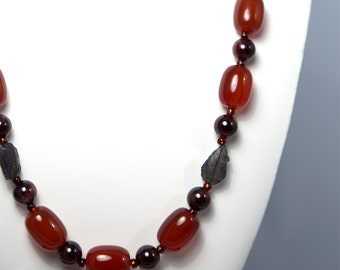 The Director, Necklace with Carnelian, Garnet, Tanzanite