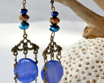 vintage bronze antique Crystal and chaine@kreapat earrings