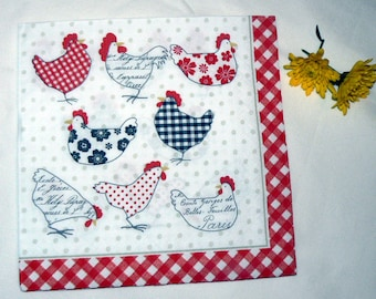 2  modern chicken images Napkins from Holland