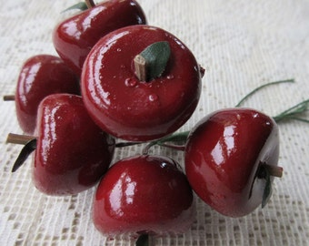 6 Millinery Dark Red Apples Fruit From Austria #A49