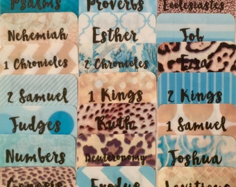 "STANDARD Turquoise/Leopard/Gold ""Queen Esther"" Multi-Hued Books of Bible Tabs by Victoria Anderson"