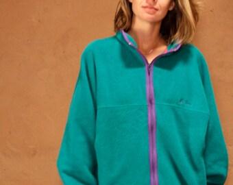 vintage women's teal LL BEAN fleece jacket henley cut