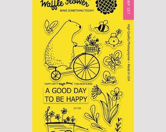 Waffle Flower HAPPY DAY  4x6 - Set of 12 CLEAR Photopolymer stamps #271105