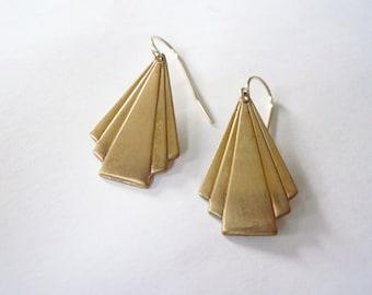 Art deco triangle earrings. Diagonal fan gold dangle earrings. Matte gold earrings. Lightweight geometric dangles. 14K gold fill ear wires.