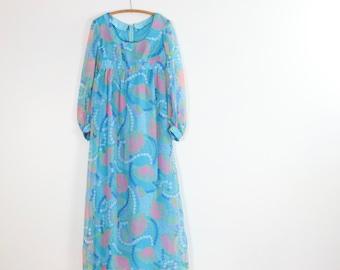 Vintage Floral Maxi Dress / 70's Empire Waist Maxi / Small