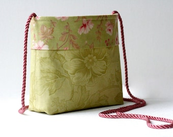Small crossbody floral purse...country cottage shabby chic rose and leaf...small lightweight shoulder bag...cotton summer purse...last one!