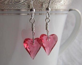 Love Me Tender Swarovski Crystal Heart and Sterling  Silver Earrings