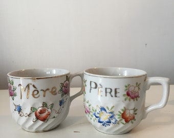 Vintage porcelain french mother and father tea cups