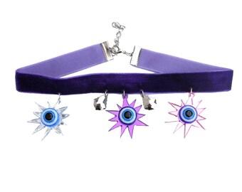 Purple Velvet THIRD EYE STARBURST Adjustable Choker Necklace