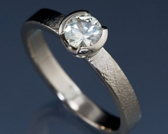 Round Creamy White Montana Sapphire Half Bezel Textured Solitaire Engagement Ring, Palladium, White Gold, Rose Gold, Yellow Gold or Platinum