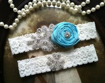 Wedding Garter-aqua-robbins egg-turquoise-Blue-Ivory Lace-Rhinestone Garter-Applique Garter-Bridal Garter-Vintage Garter - Toss Garter