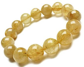 "Genuine Rutilated Quartz Golden Yellow Natural Gemstone 7""- 7.5"" Stretch Bracelet in 6- 8 & 10 mm Round Beads-Unisex-Ideal Gift For Mom -Her"