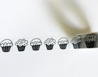 Cupcakes Washi Tape Roll BLACK & WHITE Cupcake Cute Birthday Cake Planners cards card crafts planner craft party invitations envelopes seal