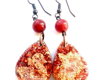 Carnelian Boho Chic Copper leaf resin earrings anti-allergic pendants