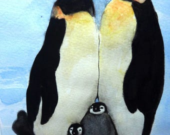 watercolor family mom dad penguins and 2 children