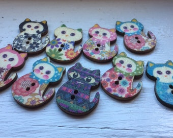 Cat Buttons Mixed Coloured Cat Shape Wooden Buttons - Sewing  Events Cats Wood Scrapbooking Embellishment