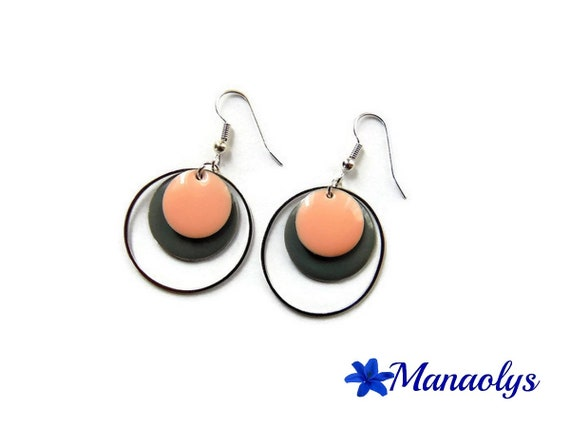 Hoop earrings, silver rings round enamel, charms, gray and pink enamel 3282